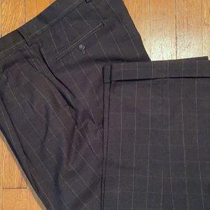 Berle Wool Windowpane Slacks, Dark Brown